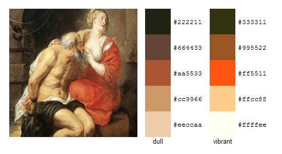 Палитра цветов с картин Рубенса 16