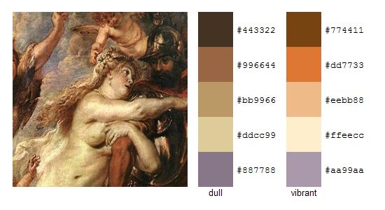 Палитра цветов с картин Рубенса 17