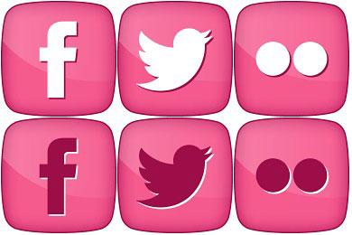 Скачать Pink Girly Social Icons