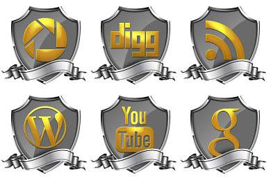 Скачать Shield Badge Social Icons By
