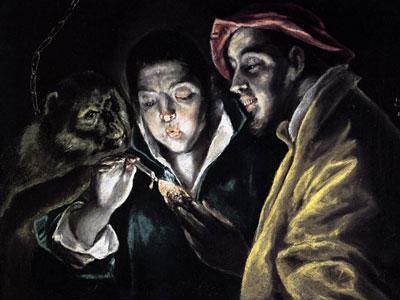 Мальчик, зажигающий свечу, в компании обезьяны и дурака