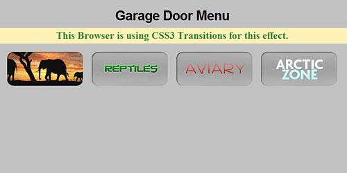 Перейти на Меню с эффектом гаражной двери