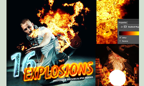 Скачать 16 Photorealistic Explosion Brushes