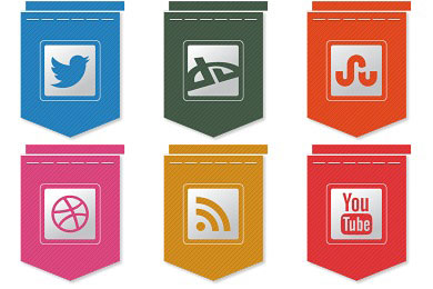 Скачать Free Ribbon Social Icons