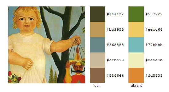 Палитра цветов с картин Анри Руссо 17