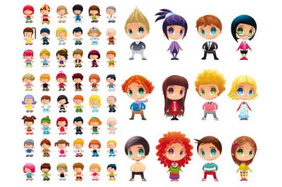 Скачать Cute Cartoon Characters Vector Material