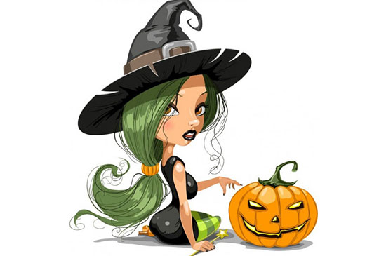 Скачать Pretty Witch With Halloween Vector Illustration
