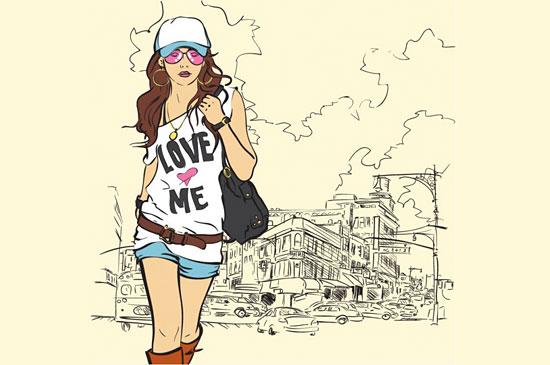 Скачать Fashion Girl Vector Illustration