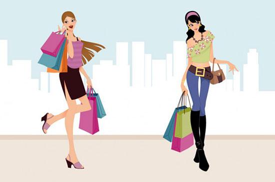 Скачать Fashion Shopping Girls Vector Art