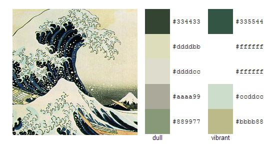 Палитра цветов с картин Кацусика Хокусай 1