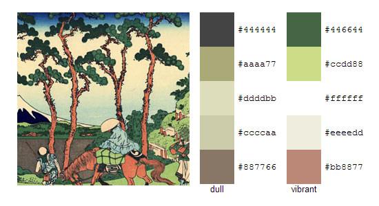 Палитра цветов с картин Кацусика Хокусай 3