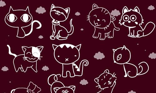 Скачать Cute Cat Photoshop Brushes