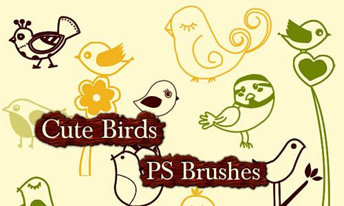 Скачать Cute Birds Photoshop Brushes