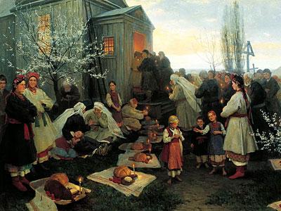 Пасхальная заутреня в Малороссии, 1891