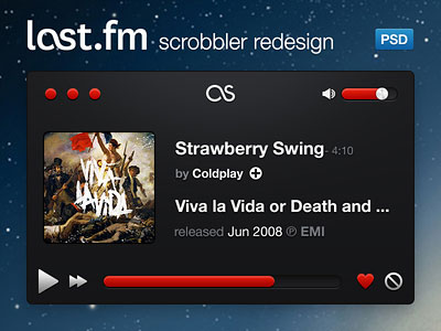 Last.fm scrobbler redesign by Oisin Lavery