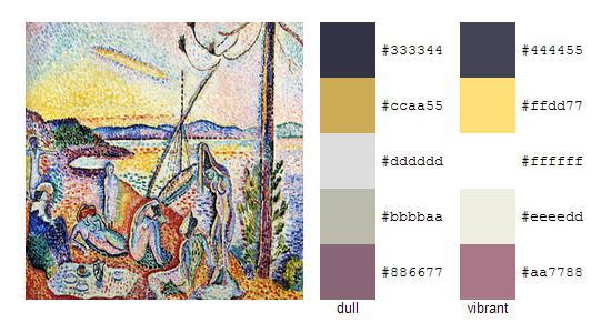 Палитра цветов с картин Анри Матисса 1