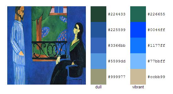 Палитра цветов с картин Анри Матисса 3