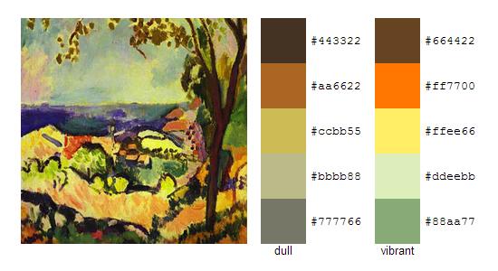 Палитра цветов с картин Анри Матисса 5
