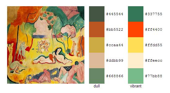 Палитра цветов с картин Анри Матисса 7