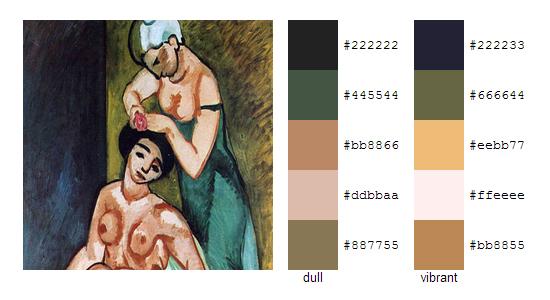Палитра цветов с картин Анри Матисса 8