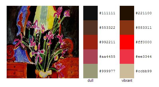Палитра цветов с картин Анри Матисса 10