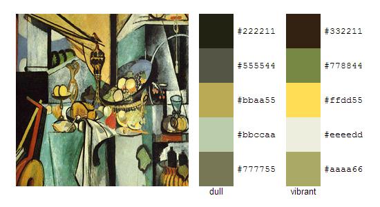 Палитра цветов с картин Анри Матисса 11