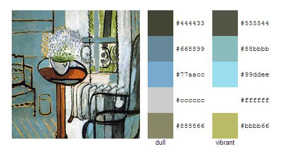 Палитра цветов с картин Анри Матисса 12