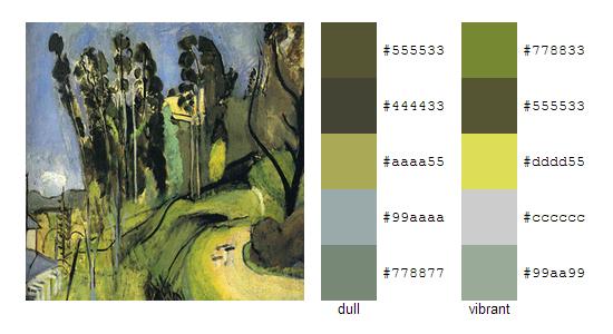 Палитра цветов с картин Анри Матисса 16