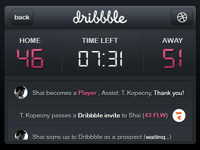 Dribbble Scoreboard Widget