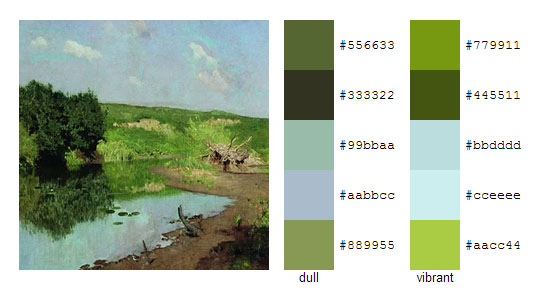 Палитра цветов с картин Исаака Левитана 11