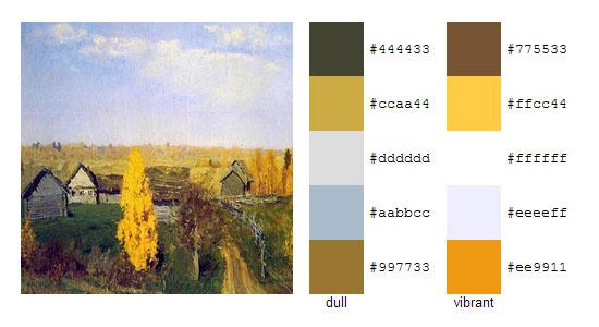 Палитра цветов с картин Исаака Левитана 19