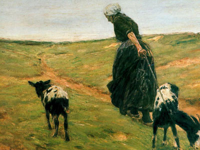 Перейти на Woman with goats