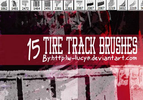 Скачать 15 Pack Tire Tread Grunge Brushes