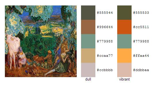 Палитра цветов с картин Пьера Боннара 20