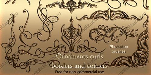 Перейти на Ornaments curls photoshop brushes