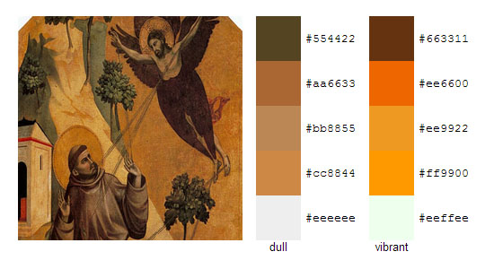 Палитра цветов с картин художника Джотто 4