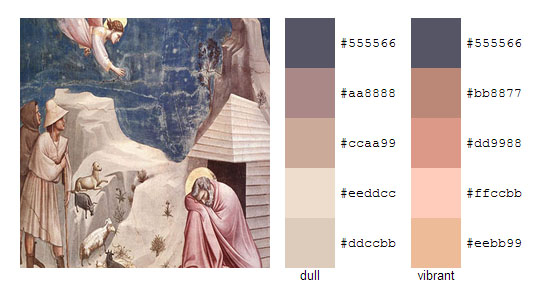 Палитра цветов с картин художника Джотто 5