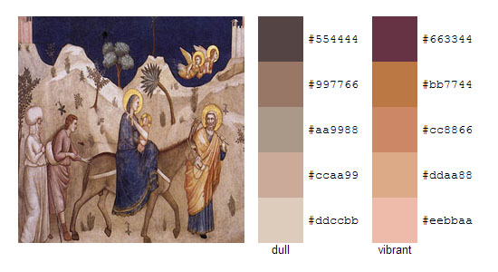 Палитра цветов с картин художника Джотто 12