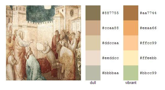 Палитра цветов с картин художника Джотто 14