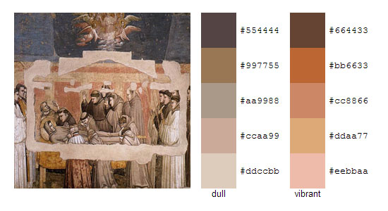 Палитра цветов с картин художника Джотто 16