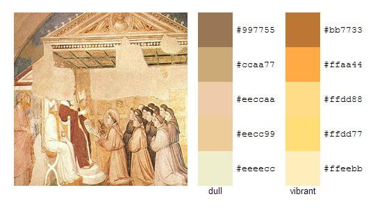 Палитра цветов с картин художника Джотто 18
