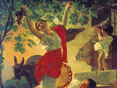 Перейти на Девушка, собирающая виноград
