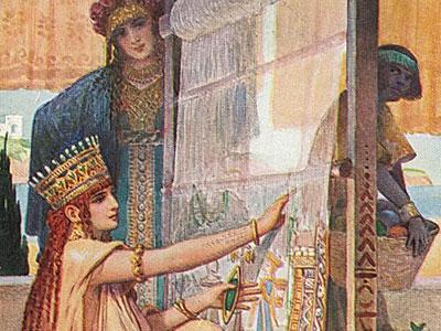Перейти на Persian woman twisting a carpet
