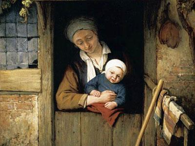 Перейти на Mother Holding Her Child In A Doorway