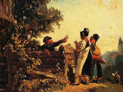 Перейти на Swabian Girls At A Garden Fence