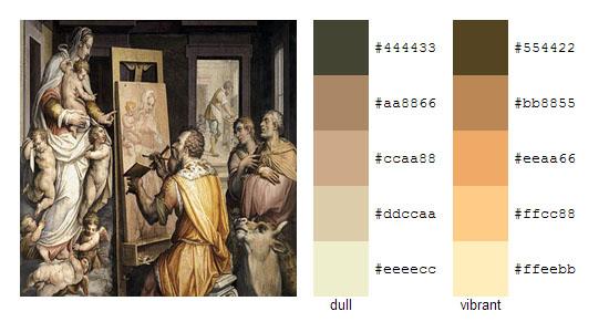 Палитра цветов с картин художника Джорджо Вазари 6