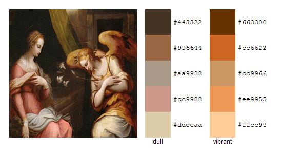 Палитра цветов с картин художника Джорджо Вазари 7