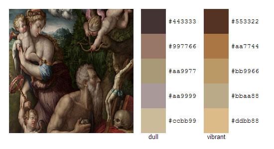 Палитра цветов с картин художника Джорджо Вазари 9