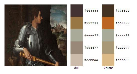Палитра цветов с картин художника Джорджо Вазари 10