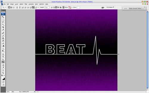 Создаем в фотошопе текст с эффектом линии сердечного ритма